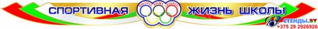 Стенд-композиция Спортивная жизнь школы большой в бело-зелёно-красных  с голубым тонах 4200*1300 мм Изображение #1