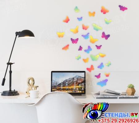 Комплект наклеек Бабочки для интерьера 344х260 мм Изображение #1