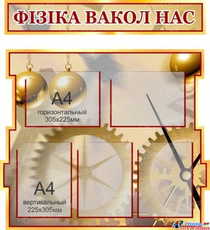Стенд в кабинет Физики Фiзiка вакол нас на белоруском языке 1800*995мм Изображение #2