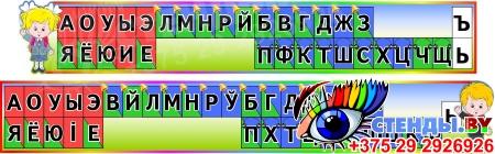 Комплект стендов Гласные и согласные со звоночками и наушниками на русском и белорусском языке в радужных тонах