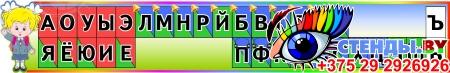 Комплект стендов Гласные и согласные со звоночками и наушниками на русском и белорусском языке в радужных тонах Изображение #1