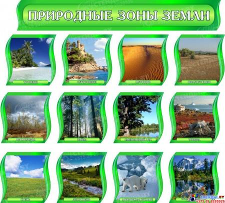 Комплект стендов Природные зоны Земли для кабинета географии в зеленых тонах с шапкой 300*300 мм