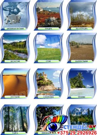 Комплект стендов Прыродныя зоны для кабинета географии 300*300 мм