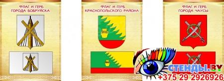 Комплект стендов Триптих Герб, Флаг Республики Беларусь и вашего города и области 300*400мм Изображение #1