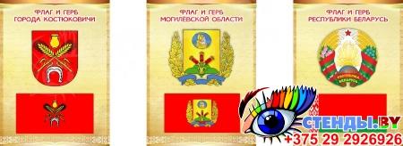 Комплект стендов Триптих Герб, Флаг Республики Беларусь и вашего города и области 300*400мм Изображение #3