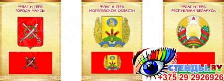 Комплект стендов Триптих Герб, Флаг Республики Беларусь и вашего города и области 300*400мм Изображение #4