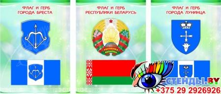 Комплект стендов Триптих Герб, Флаг Республики Беларусь и вашего города и области в светло-зеленых тонах 300*400мм