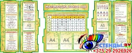 Композиция Матэматыка вакол нас в зеленых тонах на белорусском языке 1800*995мм