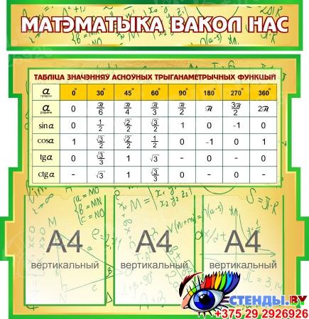 Композиция Матэматыка вакол нас в зеленых тонах на белорусском языке 1800*995мм Изображение #3