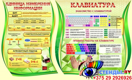 Композиция в кабинет Информатики в золотисто-зеленых тонах 2820*1140мм Изображение #2