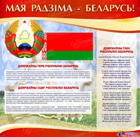 Стенд информационный с государственной символикой Республика Беларусь в золотисто-бордовых тонах  1800*880мм Изображение #2