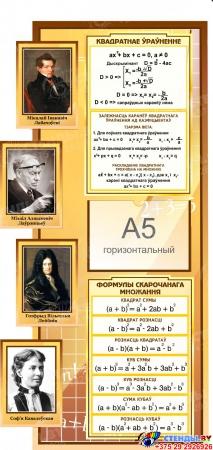Стенд Матэматыка вакол нас на белорусском языке с формулами в золотисто-бежевых тонах 1820*970мм Изображение #1