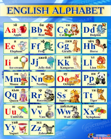 Стенд Английский Алфавит с картинками с синих тонах 600*750 мм