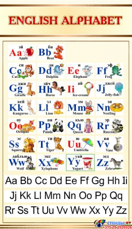 Стенд Английский Алфавит с картинками в золотисто-бежевых тонах с прописными буквами 500*850мм