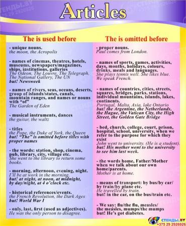 Стенд Articles в кабинет английского языка в фиолетово-жёлтых тонах 700*850 мм