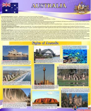 Стенд Австралия для кабинета английского языка в фиолетовых тонах 700*850мм