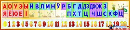 Стенд Белорусские буквы, звуки и числа от 0 до 20 в золотистых тонах 1500*350мм