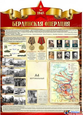 Стенд Берлинская наступательная операция ВОВ размер 900*1250мм