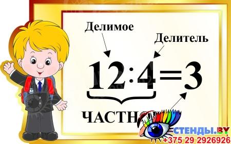 Стенд Частное для начальной школы в золотистых тонах 570*350мм