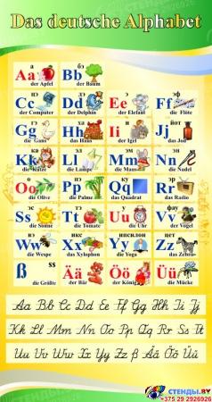 Стенд Das deutsche Alphabet  Алфавит с прописными буквами в кабинет немецкого языка желто-зеленый  530*1000 мм