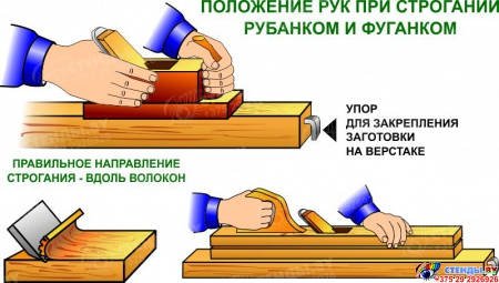 Стенд Строгание древесины в кабинет трудового обучения 910*700мм Изображение #5