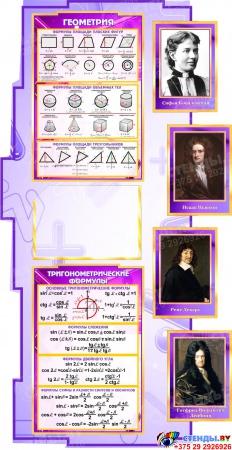 Стенд  Математика вокруг нас с формулами в кабинет Математики в сиреневых тонах 1800*995мм Изображение #3