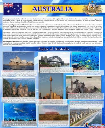 Стенд Достопримечательности Австралии на английском языке в синих тонах 700*850 мм