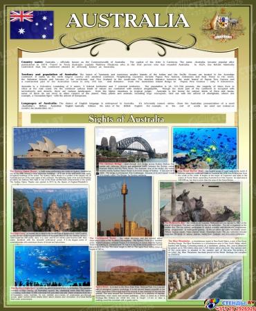 Стенд Достопримечательности Австралии в золотисто-оливковых тонах 700*850 мм