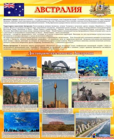 Стенд Достопримечательности Австралии желтый 700*850мм