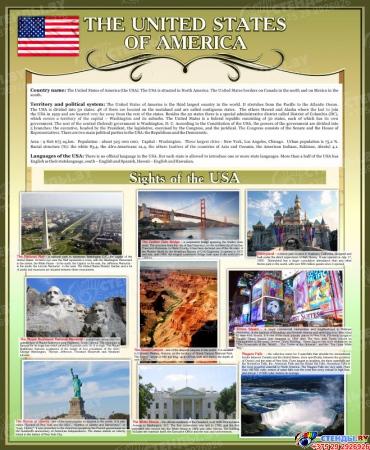 Стенд Достопримечательности США на английском языке в золотисто-оливковых тонах 700*850 мм