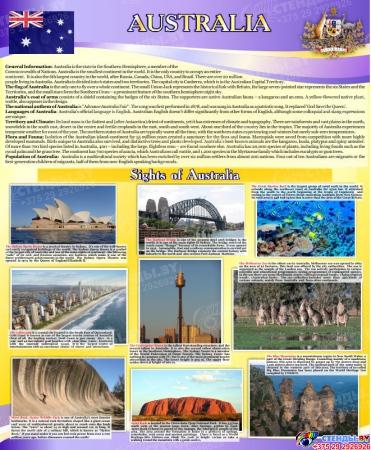 Комплект из 3-х стендов Австралия,США, Великобритания для кабинета английского языка в фиолетовых тонах 700*850мм Изображение #1