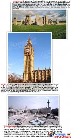Комплект из 3-х стендов Австралия,США, Великобритания для кабинета английского языка в фиолетовых тонах 700*850мм Изображение #4