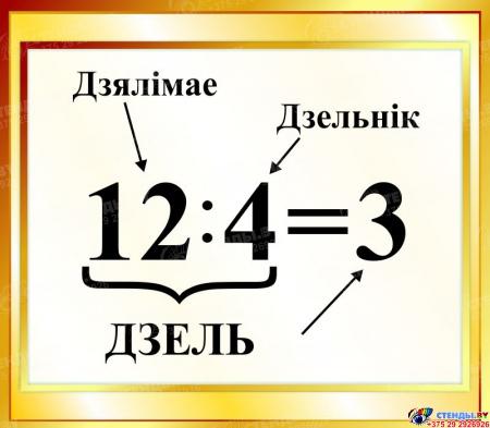 Стенд Дзель на белорусском языке для начальной школы в золотистых тонах 400*350мм