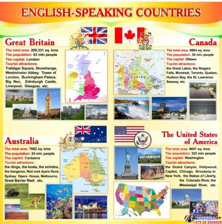 Стенд English-speaking countries на английском языке в оранжевых тонах 750*750 мм