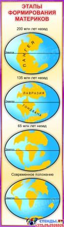 Стенд Этапы формирования материков 390*1380 мм