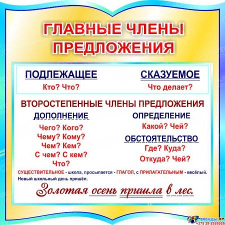 Стенд фигурный Главные члены предложения для начальной школы в бирюзовых тонах 550*550мм