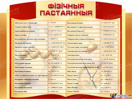 Стенд Фiзiчныя пастаянныя в кабинет физики на белорусском языке 1000*750мм