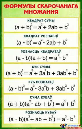 Стенд Формулы скарочанага множання в золотисто-зелёных тонах на белорусском языке   530*840 мм