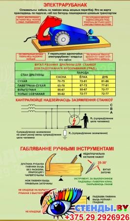 Стенд Габляванне драўніны для кабинета труда на белорусском языке 900х700 мм Изображение #2