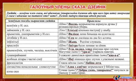 Стенд Галоўныя члены сказа. Дзейнiк на белорусском языке в золотисто-коричневых тонах 1000*600 мм