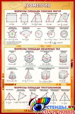 Стенд Геометрия в золотисто-бордовых тонах 430*650 мм