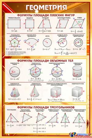 Стенд Геометрия в золотисто-бордовых тонах 630*940 мм