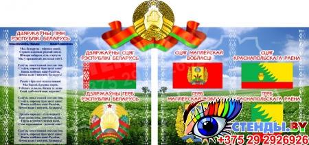 Стенд Герб, Гимн, Флаг Беларуси и Минска (Вашего города) с национальным пейзажем 1000*470 мм Изображение #8