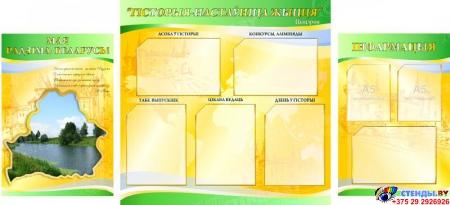 Стенд  Гiсторыя - настаўнiца жыцця в кабинет истории желто-зеленый 1700*770мм