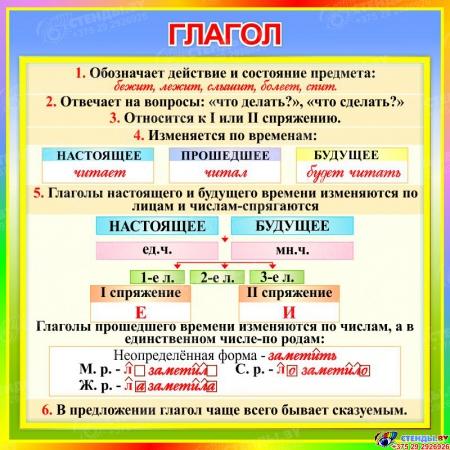 Стенд Глагол в кабинет русского языка 550*550 мм