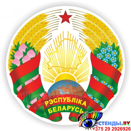 Новый герб Республики Беларусь с изменениями 2020 года вступил в силу 4.01.2021 года 300*300мм