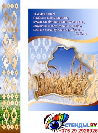 Стенд информационный Государственная символика Беларуси в золотисто-голубых тонах 1800*880мм Изображение #1