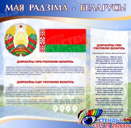 Стенд информационный Государственная символика Беларуси в золотисто-голубых тонах 1800*880мм Изображение #2