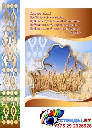 Стенд информационный Государственная символика Беларуси в золотисто-коричневых тонах 1800*880мм Изображение #1