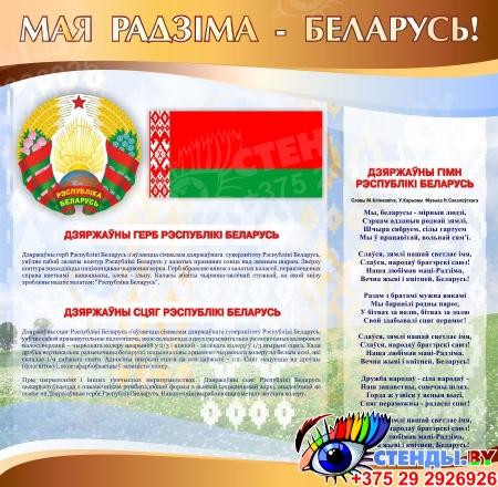 Стенд информационный Государственная символика Беларуси в золотисто-коричневых тонах 1800*880мм Изображение #2